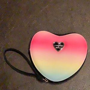 New Betsey Johnson hearts rainbow coin purse